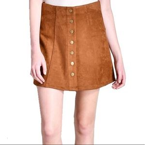 NWT Button Suede Skirt